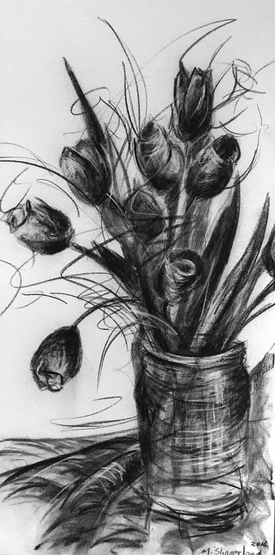 msc,colourme tulips,2016,charcoal on canvas,1200mmx600mm,R2500
