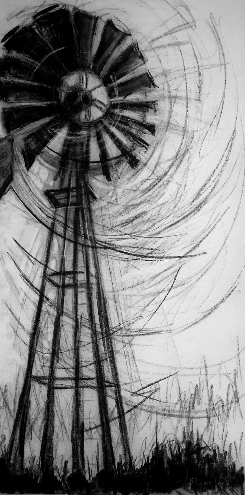 msc,windpomp,2016,charcoal on canvas,1200x600mm,R2500